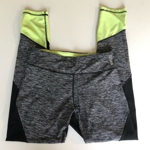 RBX Active Workout Yoga Leggings Gray Lime green